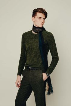 Abercrombie & Fitch sweater, $78, Abercrombie & Fitch stores nationwide and abercrombie.com. Bottega Veneta pants, $950, 800-845-6790. Bottega Veneta scarf, $680, 800-845-6790. Ermenegildo Zegna belt, $350, Ermenegildo Zegna, Fifth Avenue, New York. Glashütte stainless steel, galvanized steel, white gold, sapphire crystal dial chronograph watch, $9,300, Tourbillon boutiques.