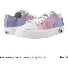 Pink Roses Zipz Low Top Sneakers, Printed Shoes (1,675 MXN) ❤ liked on Polyvore featuring shoes, sneakers, flowers, low profile shoes, floral print shoes, blossom shoes, pink sneakers and low top