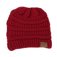 7f5f7dc76f5 Beanie Cap Skull Hat Horsetail Hat BinmerTM Baggy Warm Crochet Winter Wool  Knit Ski Hat for