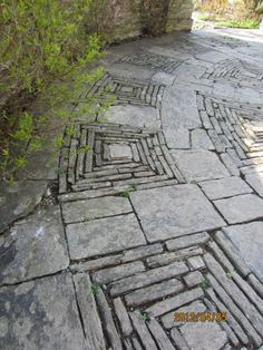Stone patterns in gardens designed by Sir Edwin Lutyens and Gertrude Jekell at Hestercombe