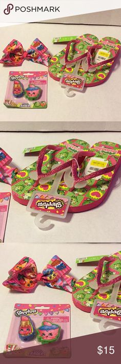 Shopkins Gift set New with tags. Pink sparkly flip flops, hair bow, and eraser pack. Sandals Available in 13/1 and 2/3. Cute Christmas gift idea for the little Shopkins fan! Ships next day! Shoes Sandals & Flip Flops