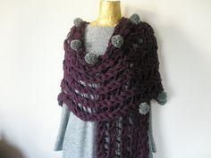 Μauve multifunctional knitted coat-poncho by elenashandmade