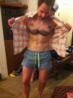 Chest Hair Shaved into Mustache Shape. There is no manlier man.. shave, mustache, chest hair, Manly haha
