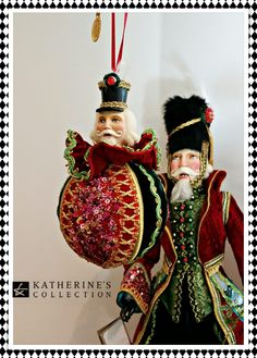 Katherine's Collection Nutcracker and Christmas tree Baubles. Handmade and hand painted lavish detail.