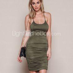 Women's Sexy Backless Strap Sleeveless Bodycon Dress - USD $13.99