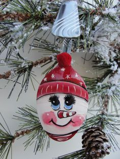 Snowman Spoon  Christmas Ornament Red Snowflake by HomeArtsBoerne, $10.00