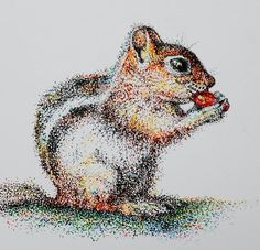Chipmunk by Jean Cormier won 1st place in Pointilism Contest