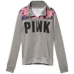 Victoria's Secret PINK Hibiscus Print Boyfriend Half Zip Sweatshirt,... ($75) ❤ liked on Polyvore featuring tops, hoodies, sweatshirts, victoria secret pink hoodie, boyfriend hoodies, hooded pullover, hoodie sweatshirts and patterned sweatshirt