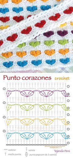 Crochet: diagrama de la puntada corazones tejida a crochet! ༺✿ƬⱤღ  http://www.pinterest.com/teretegui/✿༻: