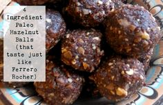 These fab little hazelnut balls could not be easier to put together, have no gluten, dairy or refined sugar in them, but are ridiculously tasty. Low Sugar Recipes, No Sugar Foods, Clean Recipes, Real Food Recipes, Cooking Recipes, Paleo Treats, Yummy Treats, Savory Snacks, Healthy Snacks