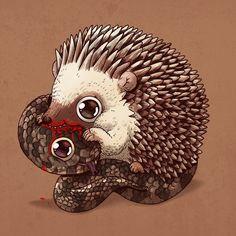 Cute Predators Savagely Tear Apart Their Cute Prey In Alex Solis' Adorably Carnivorous Illustrations Creative Illustration, Graphic Illustration, Lapin Art, Kawaii, Circle Of Life, Cute Drawings, Fantasy Art, Chibi, Pop Art