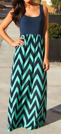 Women M.R.S Fashion: Navy & Mint Chevron Maxi Dress for Ladies
