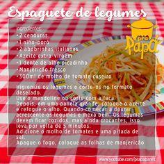 Espaguete de Legumes (sem glúten) Link:  https://youtu.be/boQAi4HB7sI