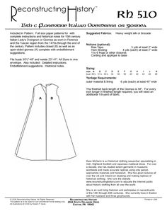 Get the perfect Florentine overgown in one easy pattern! Buy our full-size paper patterns with complete instructions and historical notes for 15th century Italian Lady's Overgown or Giornea as worn in Florence and the Tuscan region from the 1470s through the end of the century.Pattern includes closed as well as an open-sided giornea complete with …