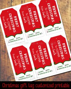 Santa Christmas Gift Tags by RedBirdCustomDesigns on Etsy
