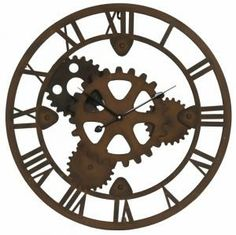 grande horloge murale cadre ferronnerie fer metal industriel usine 107cm ebay deco. Black Bedroom Furniture Sets. Home Design Ideas