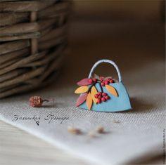 Купить Осень пришла. Брошь - голубой, красный, желтый, Рябина, осенняя брошь