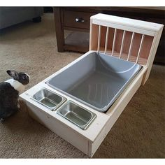 we can custom build a hay feeder / litter pan combo to fit your pans. This station is built to fit a x x Jumbo Petmate litter pan which is included. Indoor Rabbit House, Rabbit Hutch Indoor, Indoor Rabbit Cage, House Rabbit, Bunny Beds, Pet Bunny Rabbits, Bunny Room, Bunnies, Diy Bunny Cage