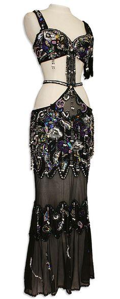 Black Sheer Egyptian Bra & Skirt Belly Dance Costume - At DancingRahana.com