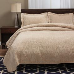 Shop for Grand Bazaar Faux Suede 3-Piece Fauna Queen Quilt Set in Light Brown…