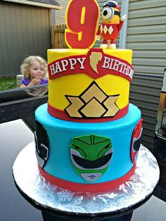 You have to see this Power Rangers cake with a special appearance by a minion! This Power Rangers cake was professionally decorated for a birthday Bolo Power Rangers, Power Rangers Birthday Cake, Pawer Rangers, Power Ranger Party, Power Ranger Cake, 6th Birthday Parties, Birthday Fun, Birthday Celebration, Birthday Ideas