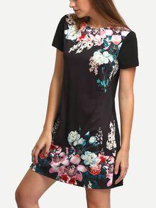 Robe vintage motif fleuri col rond -noir