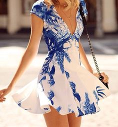 Blue Floral Print Plunging Neckline Dress