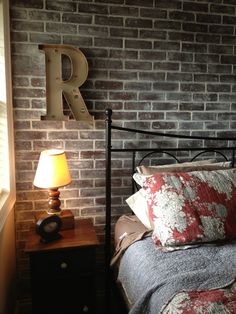 faux brick wall, whitewashed with chalk paint