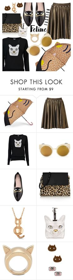 """""""Feline Fashion"""" by stacey-lynne ❤ liked on Polyvore featuring FOSSIL, Supersweet, Loewe, Quay, Kate Spade, Chloé, Allurez, STELLA McCARTNEY and Cartoon Network"""