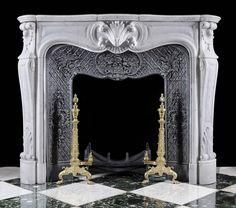 Antique White Marble Louis XV fireplace mantel