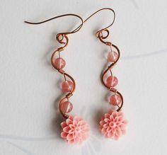 Peach Dahlia Copper Wire Wrap Glass Bead S Curve Unique Spring Flower Earrings