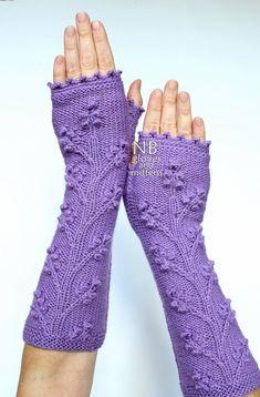 Hand Knitted Fingerless Gloves Purple Long by nbGlovesAndMittens