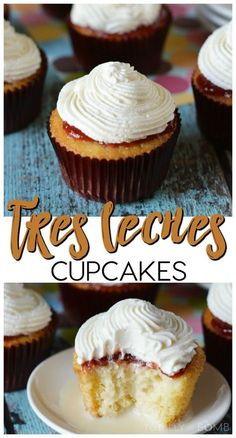 The best Tres Leches Cupcakes with whipped cream! This is a dense, wet cupcake that's so sweet and rich! You must give this recipe a try! Cupcake Muffin, Cupcake Cakes, Köstliche Desserts, Delicious Desserts, Tres Leches Cupcakes, Mini Tres Leches Cake Recipe, Tiramisu Cupcakes, Yummy Treats, Sweet Treats