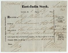 Receipt for the purchase of East India Stock East India Company, In The Heights, British