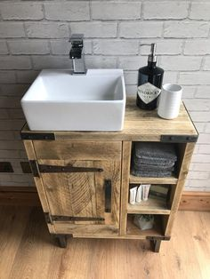 Reclaimed rustic industrial vanity unit with sink - This reclaimed bathroom vanity unit for use with counter top sinks will add a touch of rustic indus - Industrial Bathroom Vanity, Bathroom Sink Units, Rustic Vanity, Diy Bathroom Vanity, Rustic Bathroom Vanities, Rustic Bathrooms, Vanity Sink, Bathroom Furniture, Brown Bathroom