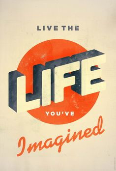 #word #poster #print #retro Live The Life You've Imagined