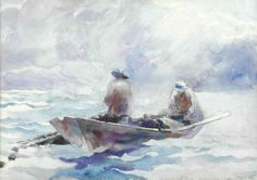 Andrew Wyeth (1917-2009) Fishermen in Dory signed and dated 'Andrew Wyeth/1936' (lower right) watercolor and pencil on paper laid down on board 21 x 29¾ in. (53.3 x 75.6 cm.)