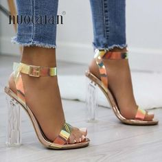 2019 Summer PVC Clear Transparent Strappy High Heels Shoes Women Sandals Peep To… 2019 sommer PVC Klar Transparent Riemchen High Heels Schuhe Frauen Sandalen Peep Toe Sexy Party Weibliche Damen Schuhe Frau Alias Strappy High Heels, Lace Up Heels, Ankle Strap Heels, Pumps Heels, Stiletto Heels, Clear High Heels, Super High Heels, Heeled Sandals, Shoes 2018
