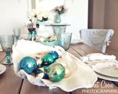 8 Decorating Ideas for Christmas Holiday Tables with a beach and coastal theme.