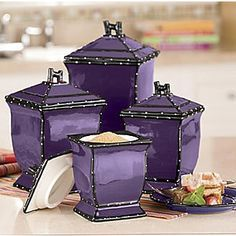 86001 Tuscany Purple Ruffle Ceramic 4 Piece Canister Set by ACK 10 14 15 8 Shades Of Purple, Deep Purple, Purple And Black, Teal, Purple Home, Ponche Navideno, My Favorite Color, My Favorite Things, All Things Purple