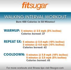 Walking Interval Workout:  Burn 400 Calories in 50 Minutes!!