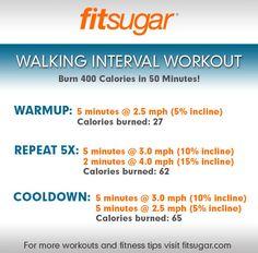 400 Calorie Burning Walking Interval Workout #printable #motivationboard #fitness
