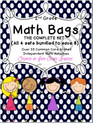 Math Bags for 2nd Grade THE COMPLETE SET (30+ Common Core Aligned Math Centers) from First Grade Buddies 2 on TeachersNotebook.com (323 pages)