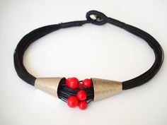 Buy Handmade Jewelry-German Silver Necklace-Hand Hammered-Fold Formed-Linen Cord-Wrapped-Button-Red Beads-Modern Jewelry-Contemporary Necklace by annarecycle. Explore more products on http://annarecycle.etsy.com