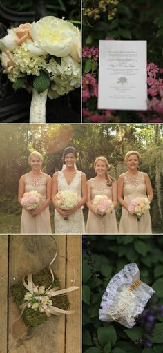 Lovely blush brideamaids dresses & gorgeous wedding gown