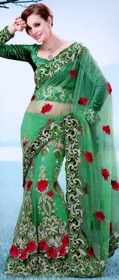 Light #Green Net #Lehenga Style #Saree With Blouse @ $220.80 | Shop @ http://www.utsavfashion.com/store/sarees-large.aspx?icode=ssx3635a