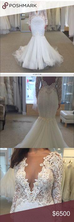 Berta bridal Mermaid long sleeve lace with pearls ivory Dresses Long Sleeve
