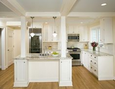 Load Bearing Columns Kitchen with Bookcase Columns Cream Family
