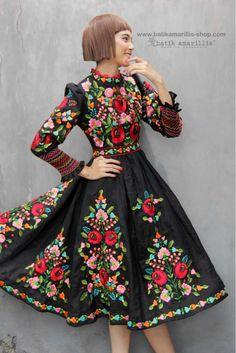batik amarillis's birthday dress-PO (excluded obi belt) Embroidery On Clothes, Embroidery Dress, Amarillis, Folk Clothing, Mexican Dresses, Batik Dress, Clothes Crafts, Birthday Dresses, Western Outfits