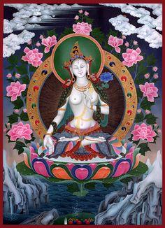 White Tara at the Dharmapala Thangka Centre. Amazing Thangka Gallery with lots of information.